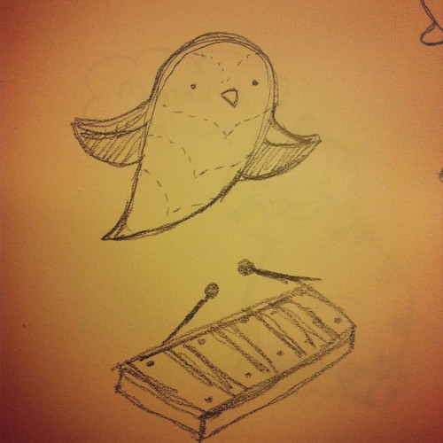 Owl in flight drawing and a xylophone.
