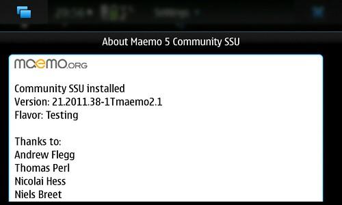 About Maemo5 CSSU Ver.21.2011.38-1Tmaemo2.1