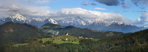 panorama mountains church landscape hill hills slovenia slovenija tomaz storzic storžič grintovec tomaž rantovše rantovse