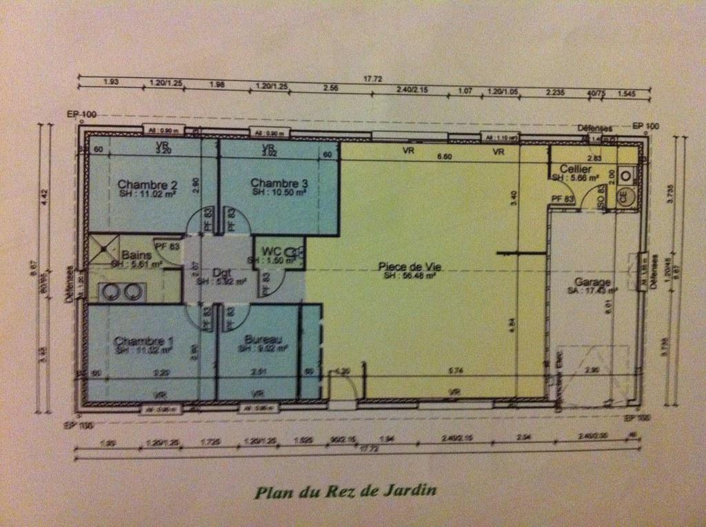 Plan amateur de maison de 3 chambres bureau garage for Plan de maison cote