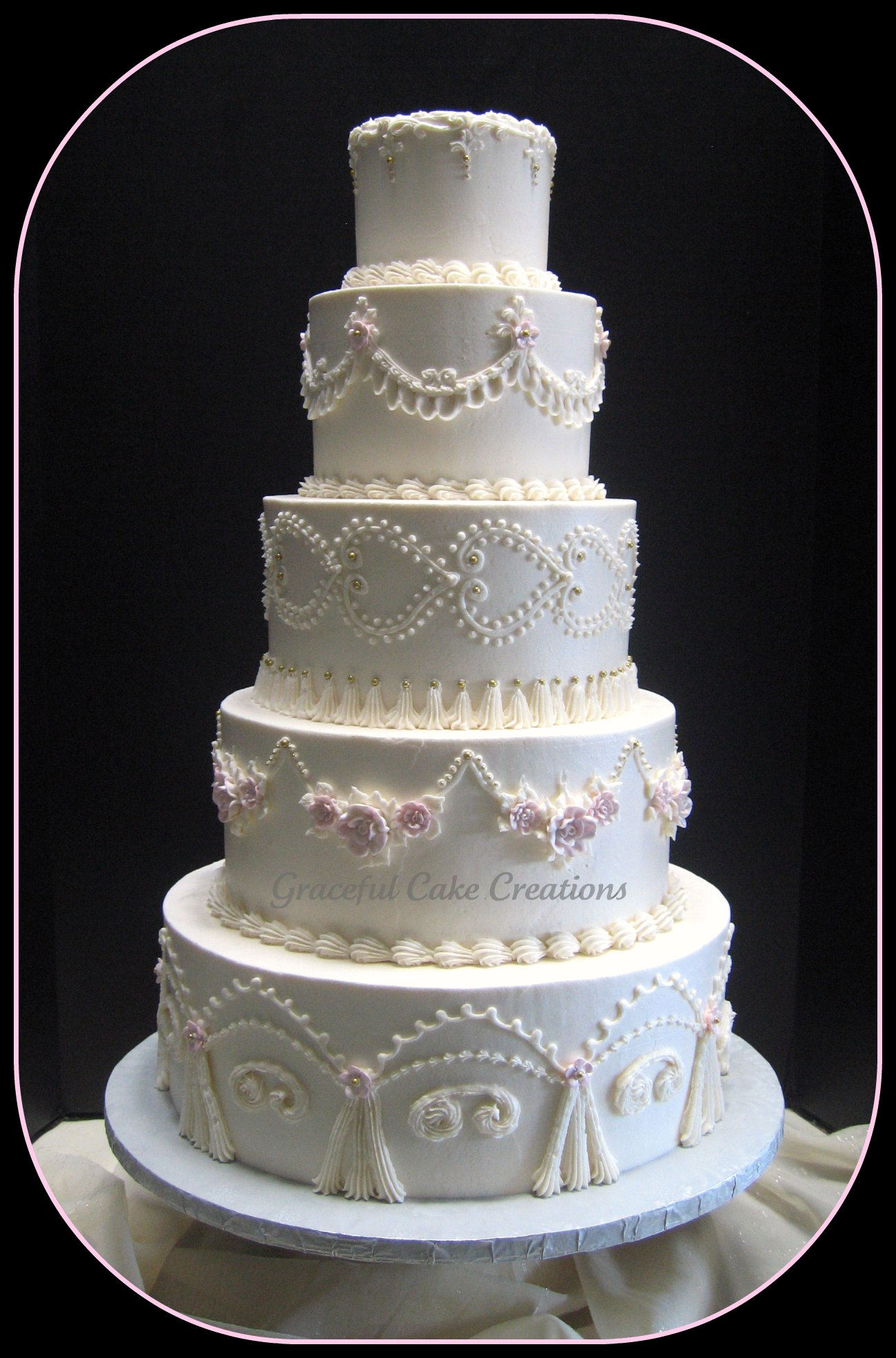 Victorian Wedding Cake Silver And Pink