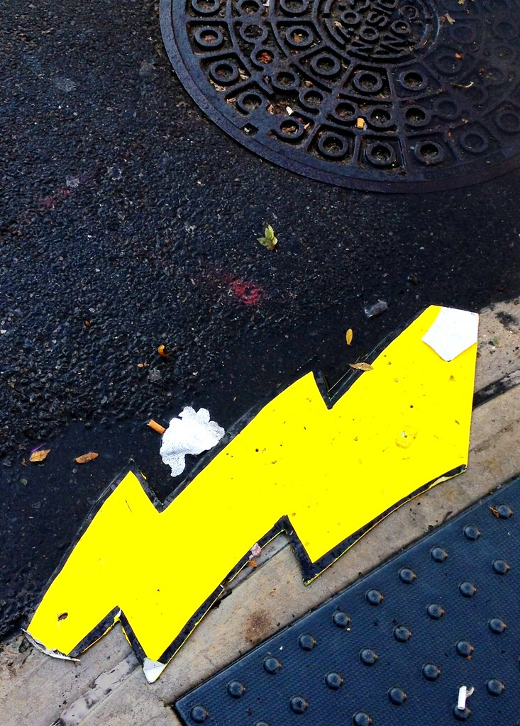 Lightning bolt on the street #walkingtoworktoday