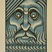 "Art Deco Zeus - 2 Color Reduction Linocut - 5""x7"""