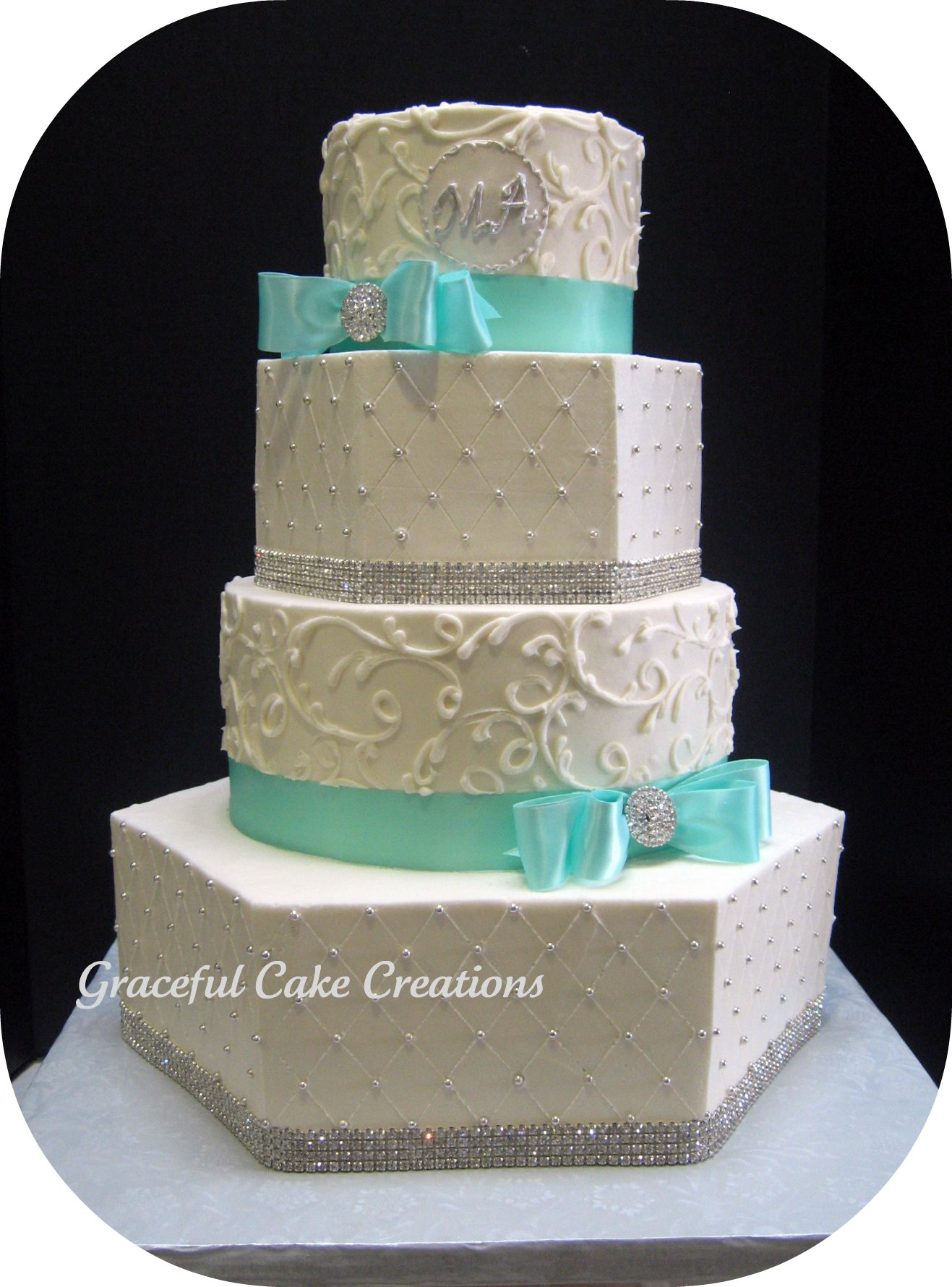 Elegant White and Tiffany Blue Wedding Cake