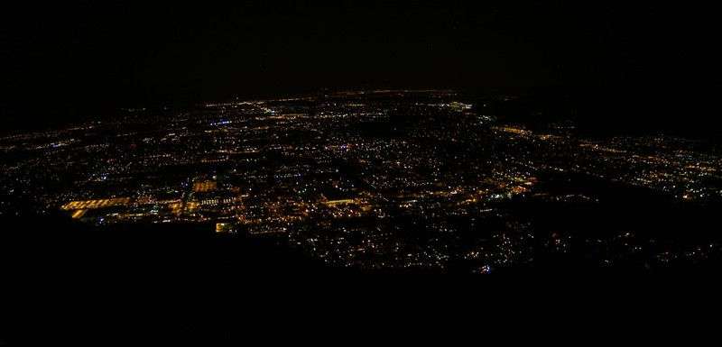 Skyline Trail 1500ft - Night Photo - Lights of Palm Springs panorama