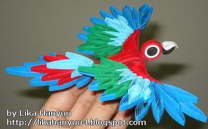 Arara Vermelha de Paper Quilling (Macaw)