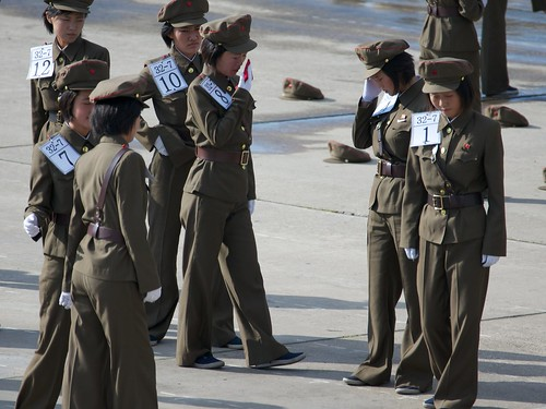 A quick break at marching practice North Korea