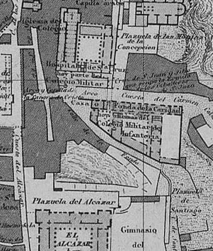 Detalle del plano de Toledo en 1858 por Coello e Hijón