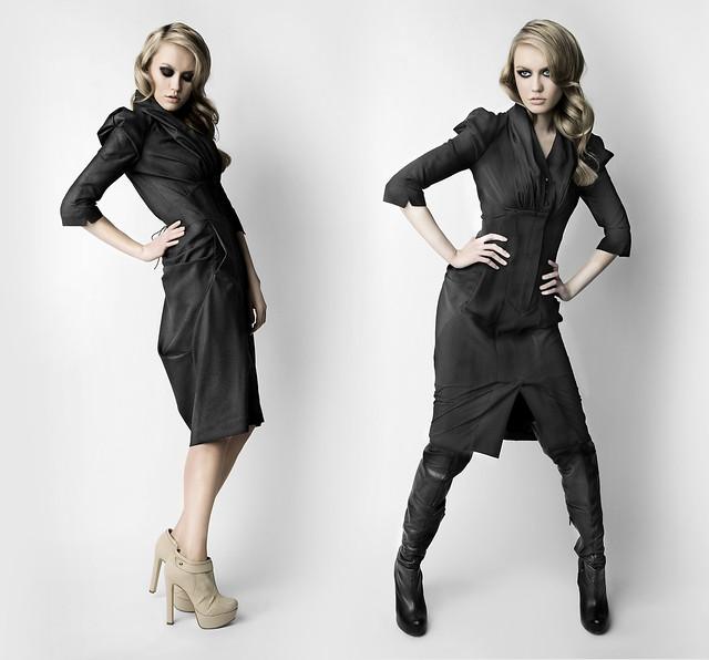 Платье с турнюром конструктивное из костюмной ткани