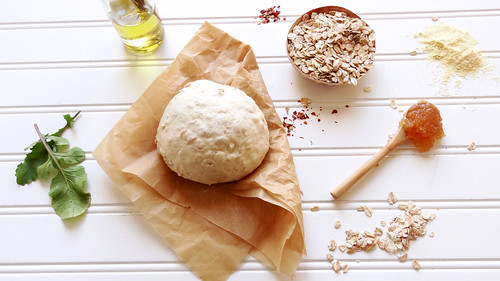 potato + arugula pizza // spelt oatmeal crust