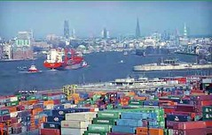 containers in Hamburg's commercial port (via Hamburg, European Green Capital application)