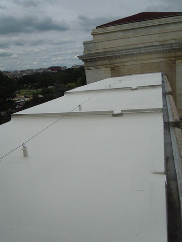 "Photo of one of our new ""Cool Roofs"" (made from biobased materials) at the USDA HQ Complex Facility - helps save energy."