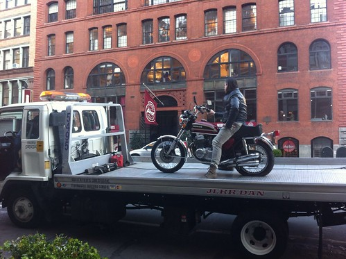 Biker & bike get towed