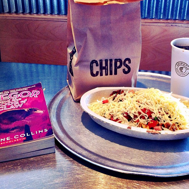 Lunch: @ChipotleTweets, and a little Suzanne Collins.