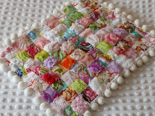 Vintage Chenille Designer Fabric Baby/Doll Quilt with Pom-Pom's