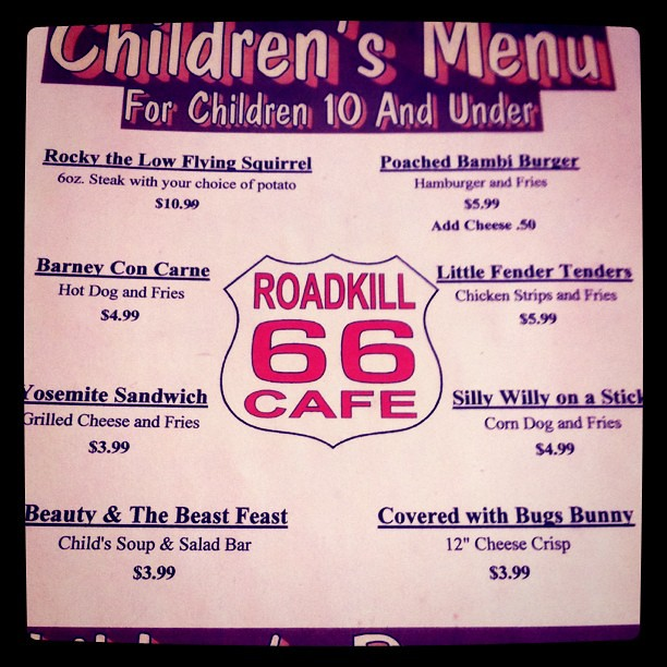 Roadkill Cafe Menu Arizona