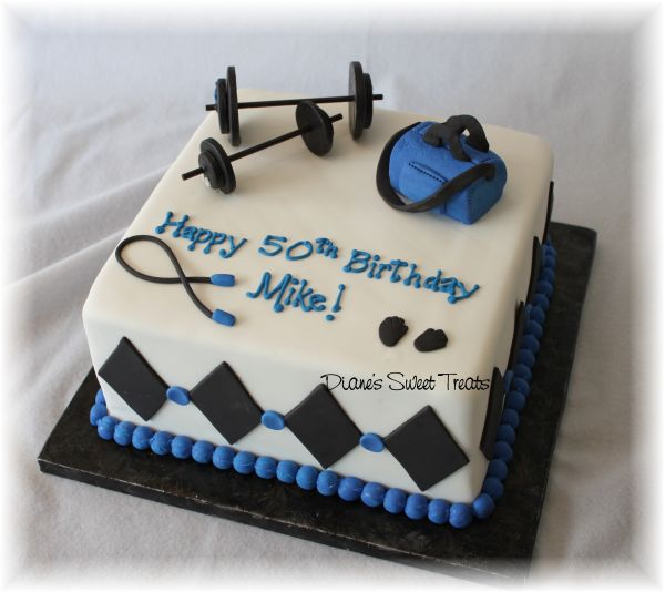 50th Birthday Cake For Body Builder Weight Lifter A Photo On