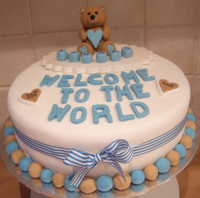New Baby Cake Images : New baby boy  Welcome to the World  cake Flickr - Photo ...