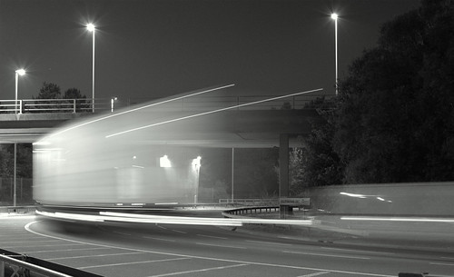 Hilsea roundabout light trail