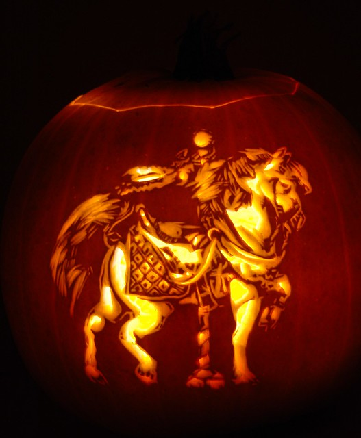 Carousel horse a carved into pumpkin