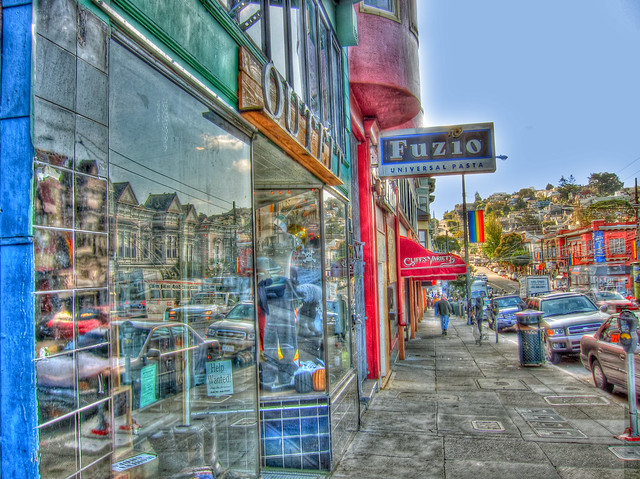 Castro Street in Surreal HDR Grunge, with Reflections