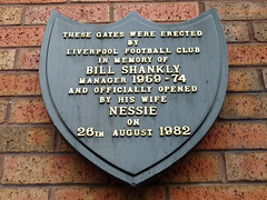 Photo of Bill Shankly and Liverpool Football Club black plaque