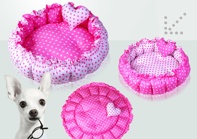 100 Cotton Pink Double Side Round Dog Cat Pet Bed House