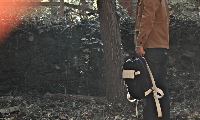 Dark Navy Waxed Backpack