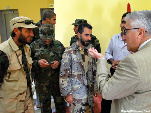 Misurata Brigade Members Welcome Ambassador Cretz to Misurata