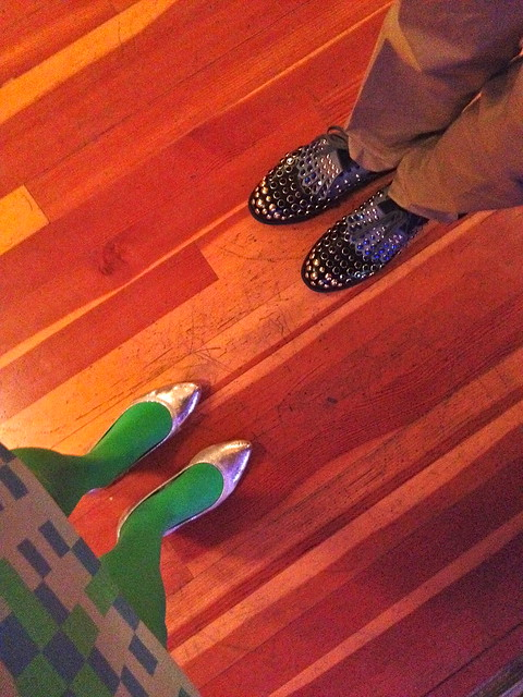"Meeting Cameron Silver's shoes last night. Cameron is a self-described ""big walker,"" and perhaps LA's most stylish."