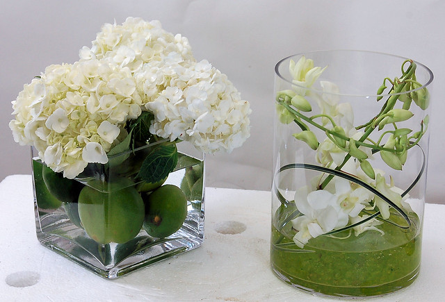 Hydrangea and orchid centerpieces flickr photo sharing