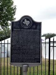Photo of Sam Houston and Mirabeau Buonaparte Lamar black plaque
