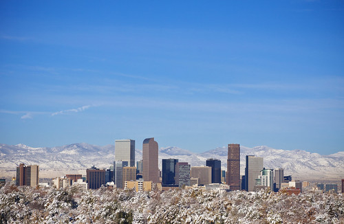 city morning blue autumn trees sky urban sun white snow storm mountains fall halloween beautiful skyline clouds buildings season landscape am colorado cityscape view apartment snowy rocky sunny denver treetops co rockymountains firstsnow metropolitan
