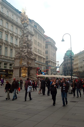 Die Pestsäule am Graben in der Mitte von Wien