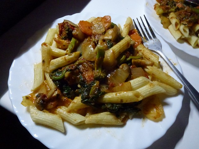 Dinner of pasta and veg in the evening made in the campervan