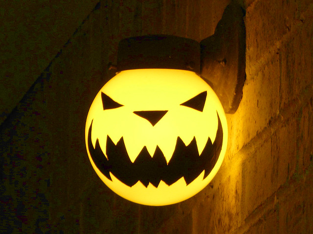 Porch light Jack-o'-lantern, night, on | Flickr - Photo ...
