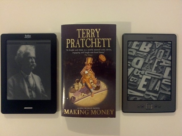 Size comparison: Kindle 4 and Kobo Touch eInk eReaders vs Paperback book