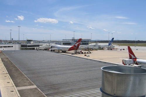 Looking out of the Melbourne Airport observation deck