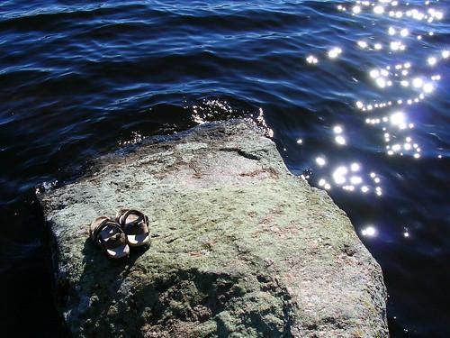 summer beach water rock sandals