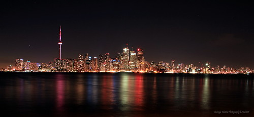 Toronto skyline at night from Ward Island
