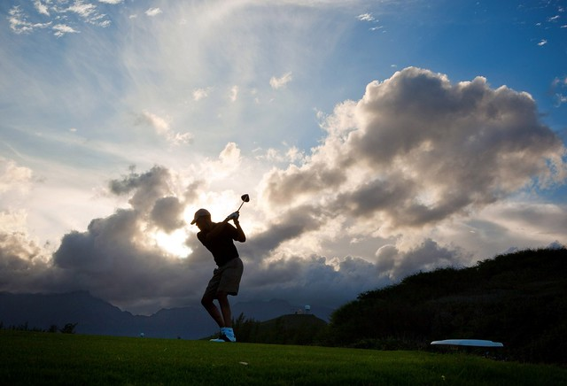 President Barack Obama plays golf at the Kaneohe Klipper Marine Golf Course in Oahu, Hawaii