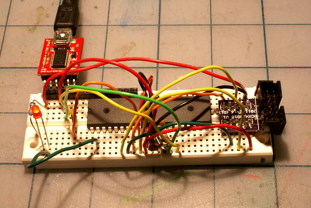 ATmega1284P on a breadboard