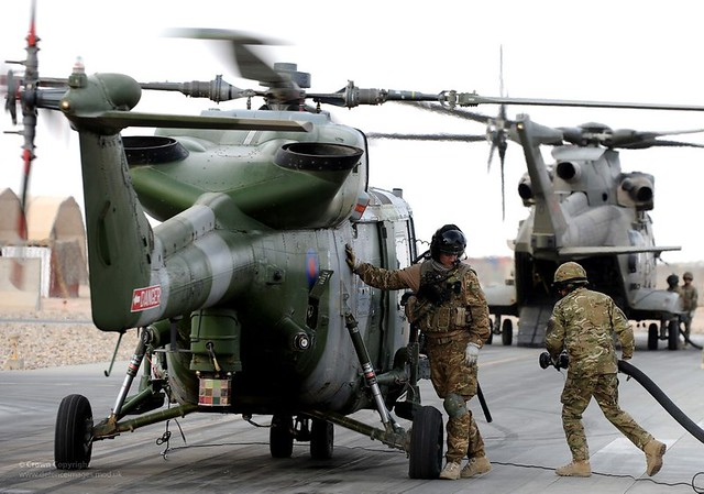 Army Air Corps Lynx Mk9A Helicopter Refuelling at Camp Bastion, Afghanistan