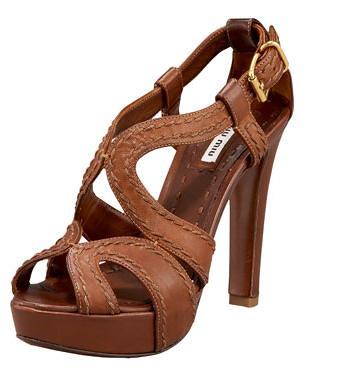 miu miu Napa Washed Peep-Toe Platform Sandal
