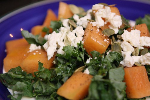 Cantaloupe and Feta Salad with Kale and Pumpkin Seeds