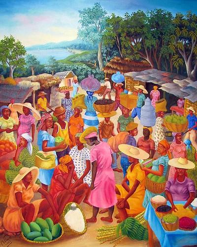 art fruits vegetables painting virginia haiti colorful unitedstates hats danville baskets produce ethnicity bandanas scarfs headgear marketscene danvillemuseumoffineartandhistory wilnercadet