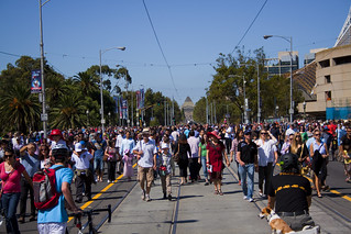 Busy St. Kilda Road on Moomba festival day