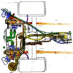Porsche 911 GT1 engine subsystems cartoon