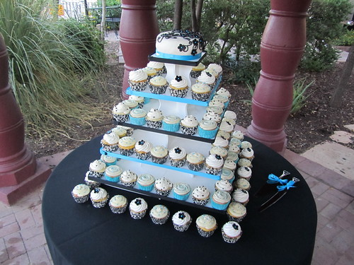 Aqua, Black, and White Wedding Cupcake Tower