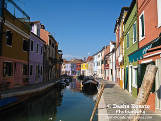 Colorful Houses of Burano, Italy with Water Canal and boats